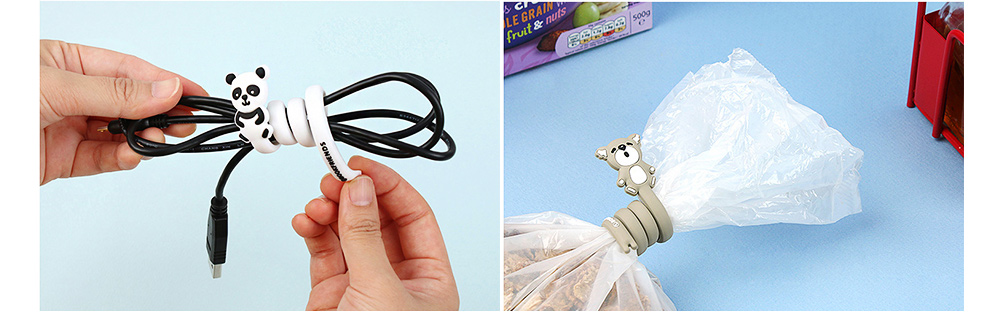 Delicate Cable Tidy Tie with Carton Animal Model, Bendable Metal Wire Earphone Data Lin Food Bag Organizer Strip 4