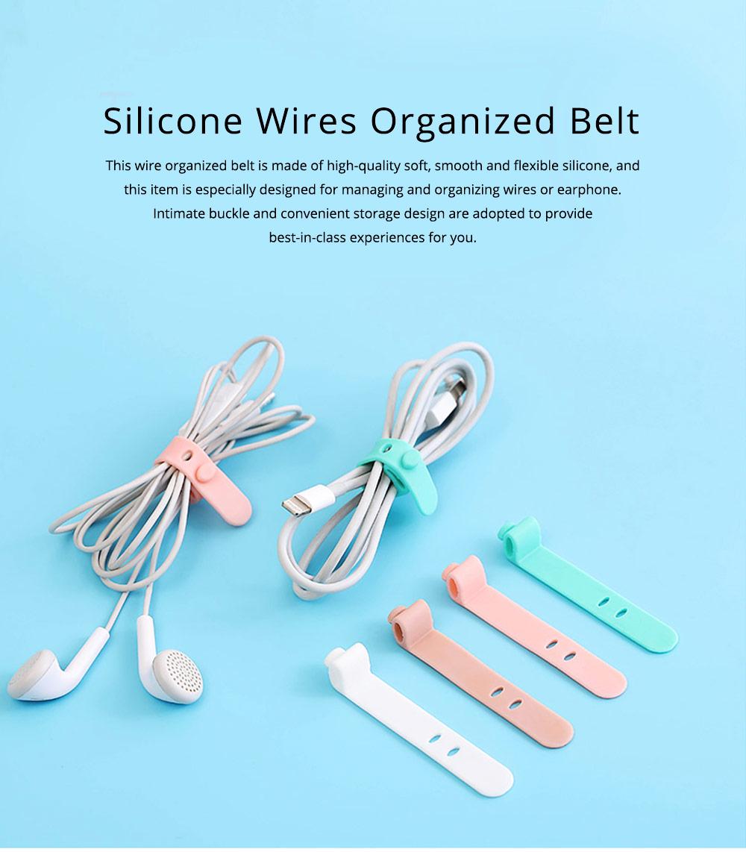 4PCS Ultrasoft Silicone Wire Management Organized Belt Band, Wearable Data Line Earphone Organizer Holder Buckle 0