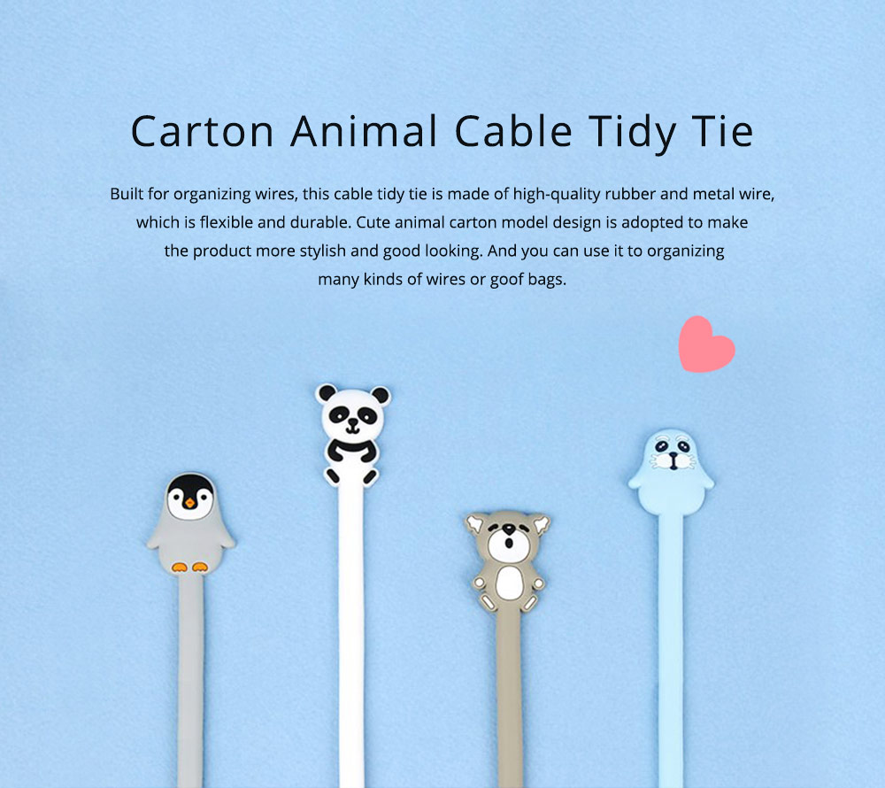 Delicate Cable Tidy Tie with Carton Animal Model, Bendable Metal Wire Earphone Data Lin Food Bag Organizer Strip 0
