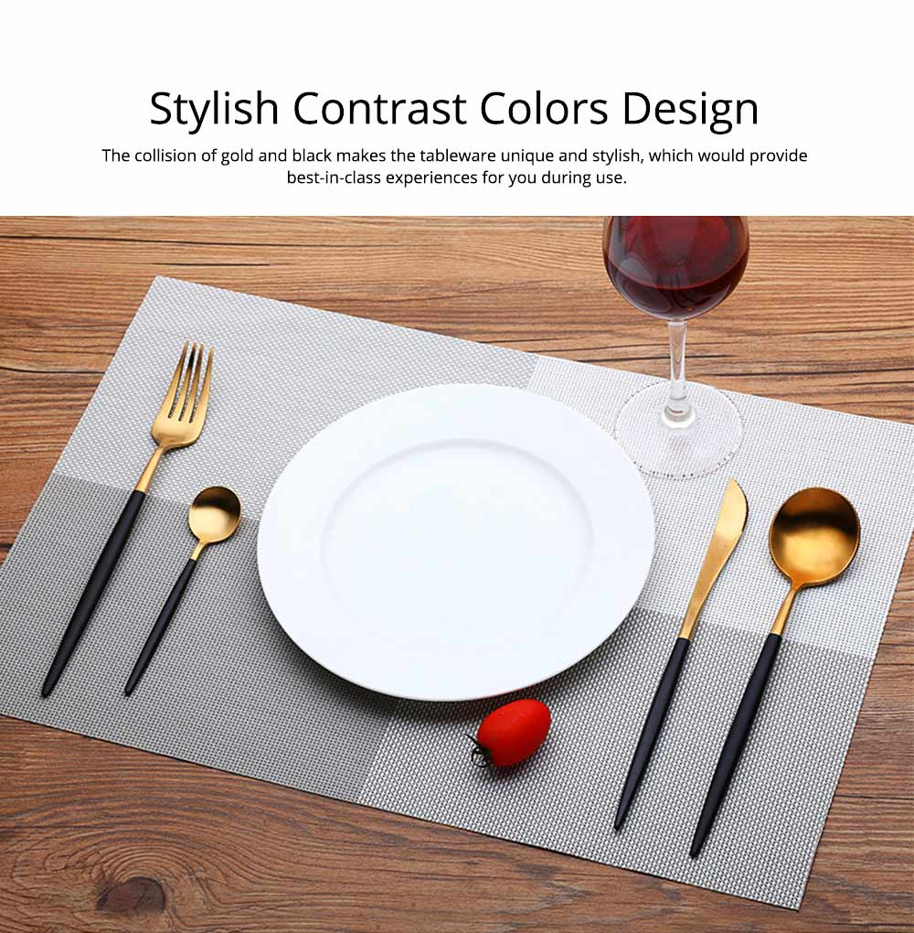 Fancy Golden Stainless Steel Dinner Spoon Fork Knife 2PCS 3PCS 4PCS Suit, Delicate Tableware Kitchenware Cutlery with Black Matte Hollow Handle 5