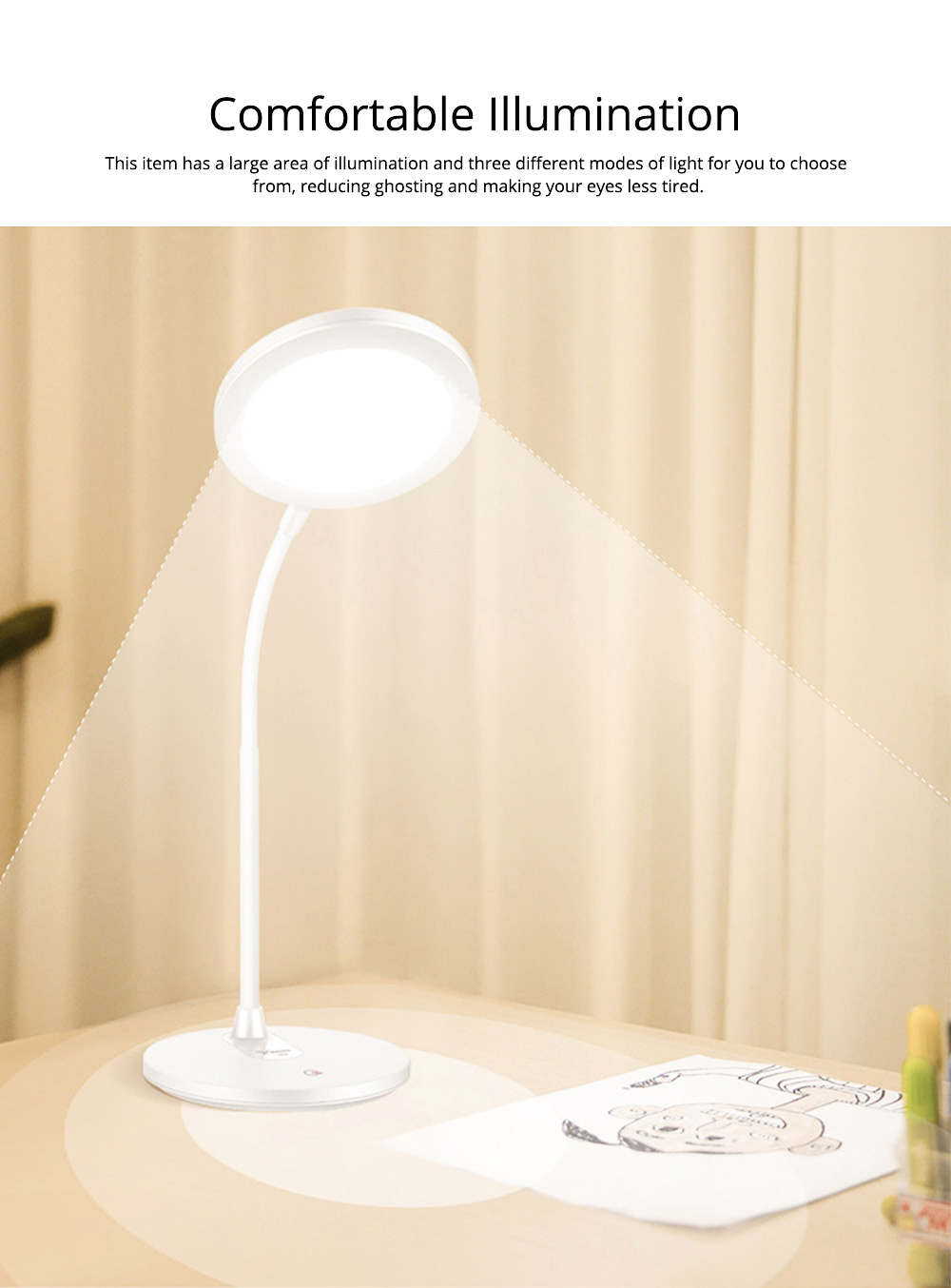 Flexible Eye Protection LED Table USB Charging Round Lamp, 3 Models Dimming Stepless Adjusted Light Lamp with Intelligent Touch 1