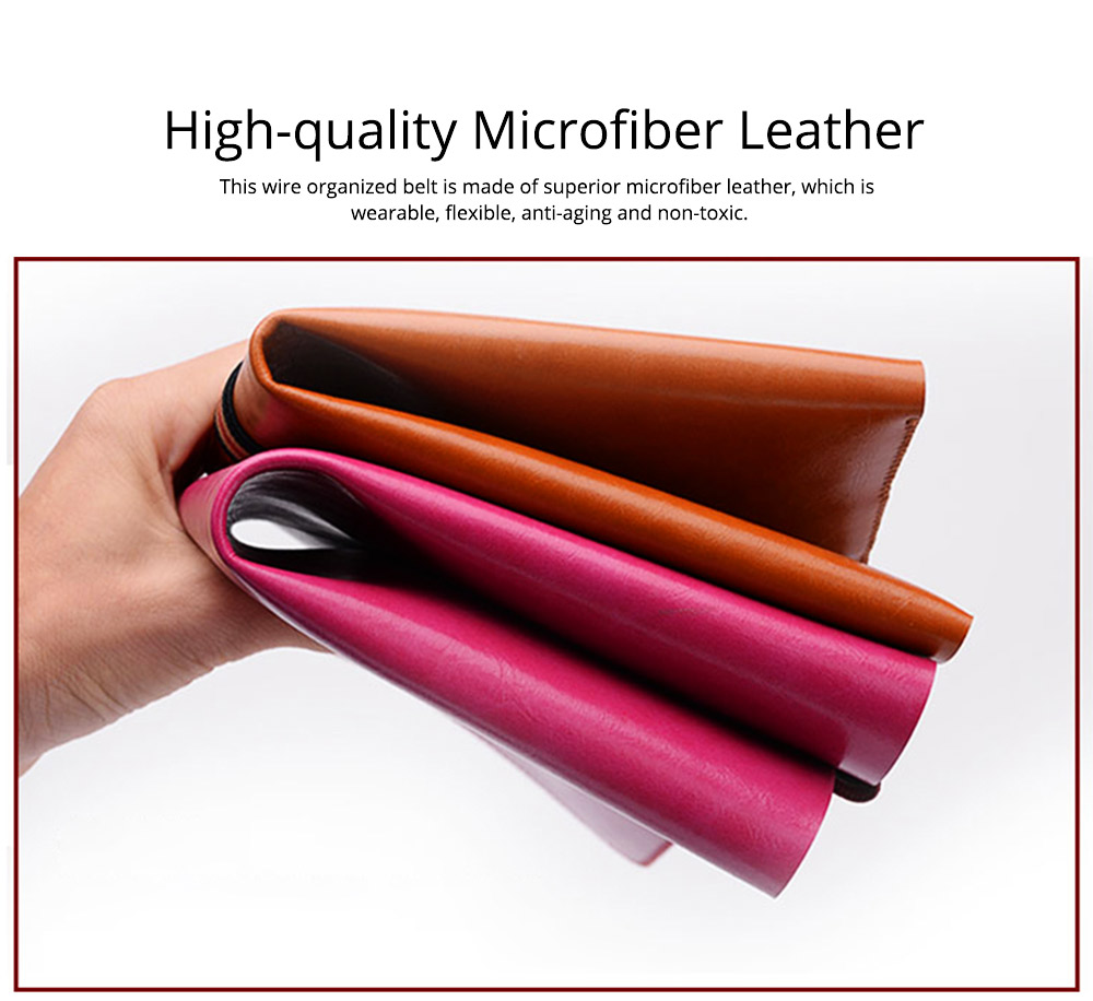 Ultarsoft Microfiber Leather Data Wire Earphone Organizer, 3PCS 4PCS Durable Leather Data Line Organized Belt Buckle 1