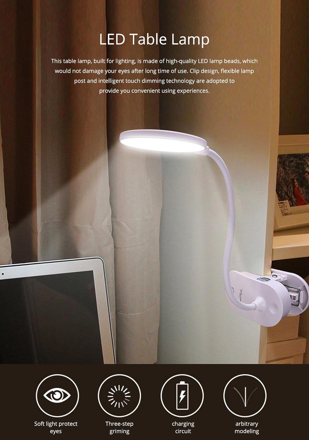 Flexible LED Table Headboard USB Charging Lamp with Clip, Round Shaped Head Night Light with Touch Sensor with 3 Modes 0