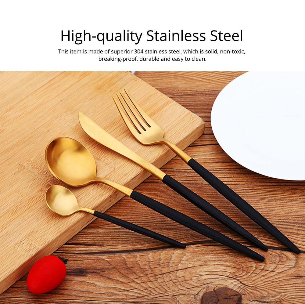 Fancy Golden Stainless Steel Dinner Spoon Fork Knife 2PCS 3PCS 4PCS Suit, Delicate Tableware Kitchenware Cutlery with Black Matte Hollow Handle 1