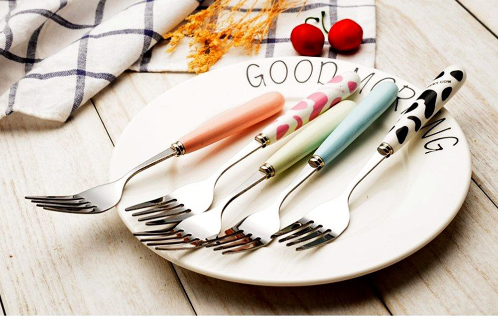 Delicate Stainless Carbon Steel Knife Fork Spoon 2PCS 3PCS Tableware Suit, Cute Cutlery Dinnerware with Stylish Ceramics Hand Grip for Children 5