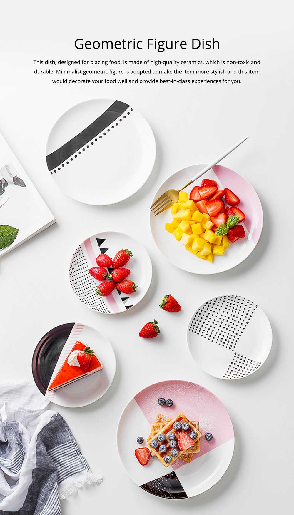 Minimalist Geometric Figure Dot Pattern Ceramics Dish, Delicate Elegant Pretty Fruit Food Steak Breakfast Plate 0