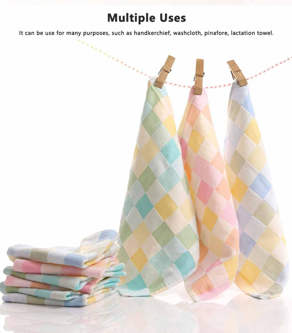 Double Layer Cotton Gauze Towel, Absorbent Cotton Bath Towel for Babies, Comfortable Check Infant Face Towel 4
