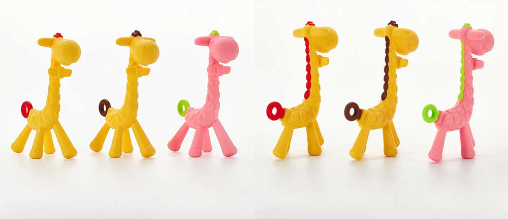 Cute Giraffe Baby Teether, Soft and Safety Silicone Baby Teething Toy, Chewable Molar for Infants 6