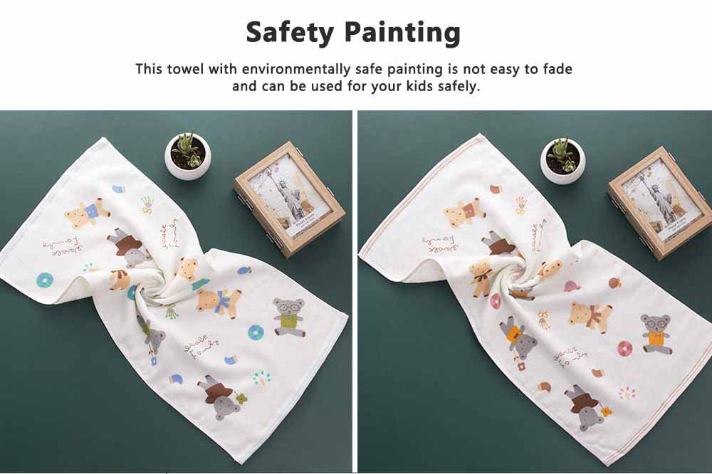 Cute Cartoon Bear Untwisted Yarn Face Cotton Towel, High-quality Smooth Double Layer Cloth for Children 4