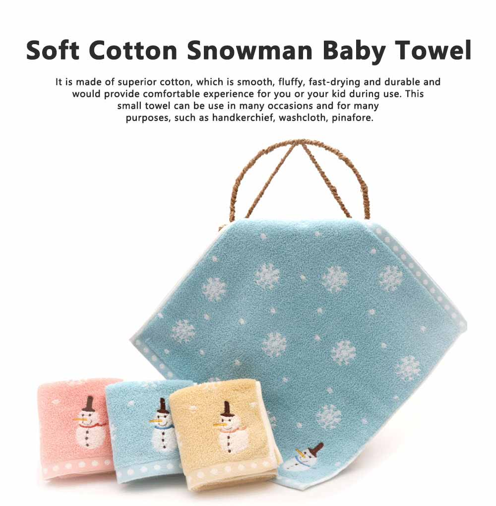 Soft Cotton Snowman Baby Towel, Cotton Newborn Baby Bathroom Warp Towel, Smooth Fluffy Embroidered Kerchief 0