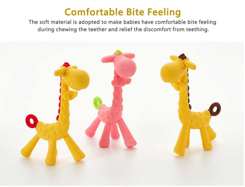 Cute Giraffe Baby Teether, Soft and Safety Silicone Baby Teething Toy, Chewable Molar for Infants 5