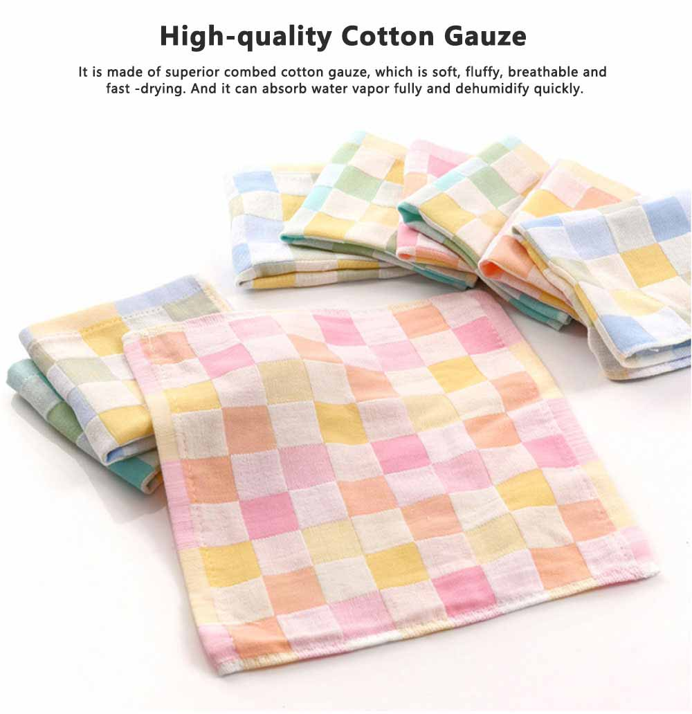 Double Layer Cotton Gauze Towel, Absorbent Cotton Bath Towel for Babies, Comfortable Check Infant Face Towel 1