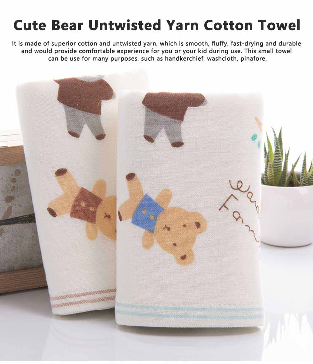 Cute Cartoon Bear Untwisted Yarn Face Cotton Towel, High-quality Smooth Double Layer Cloth for Children 0