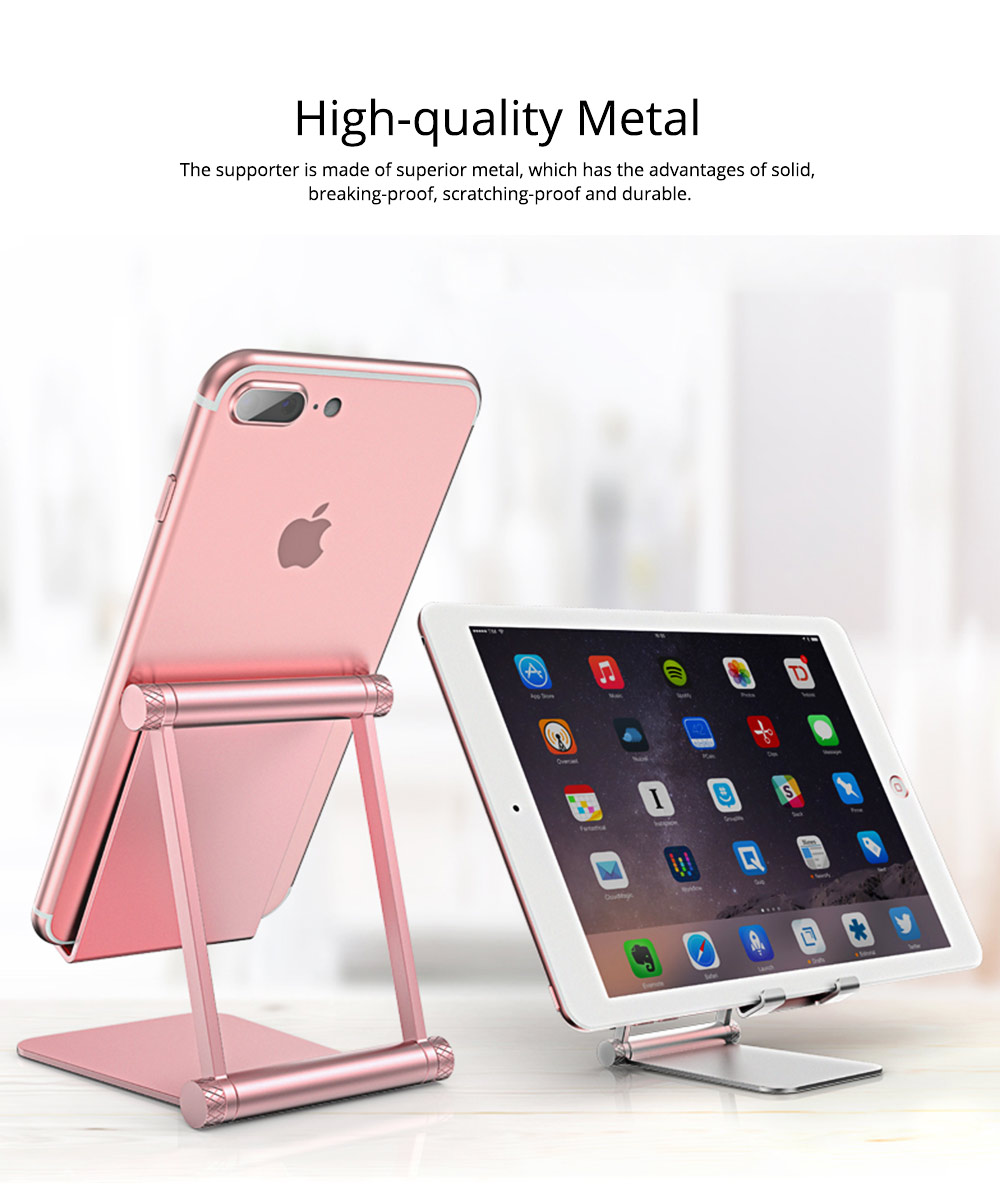 Adjustable Universal Metal Smart Phone Tablet Computer Holder, Minimalist Simple Collapsible Mobile Phone Stand Supporter 1