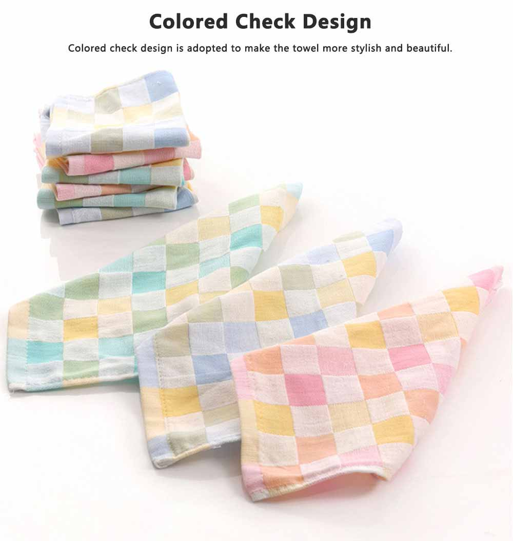 Double Layer Cotton Gauze Towel, Absorbent Cotton Bath Towel for Babies, Comfortable Check Infant Face Towel 3
