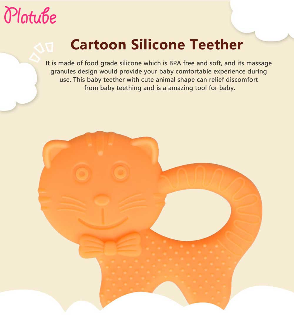 Cartoon Silicone Baby Teether, Animal Shape Baby Chew Toy with Massage Granules, Soft and Safety Molar for Infants 0