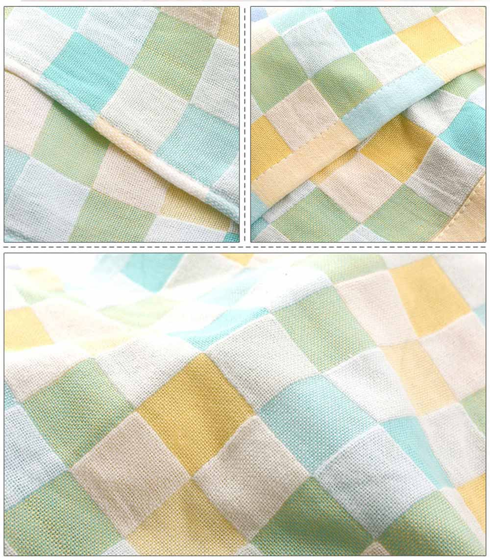Double Layer Cotton Gauze Towel, Absorbent Cotton Bath Towel for Babies, Comfortable Check Infant Face Towel 5