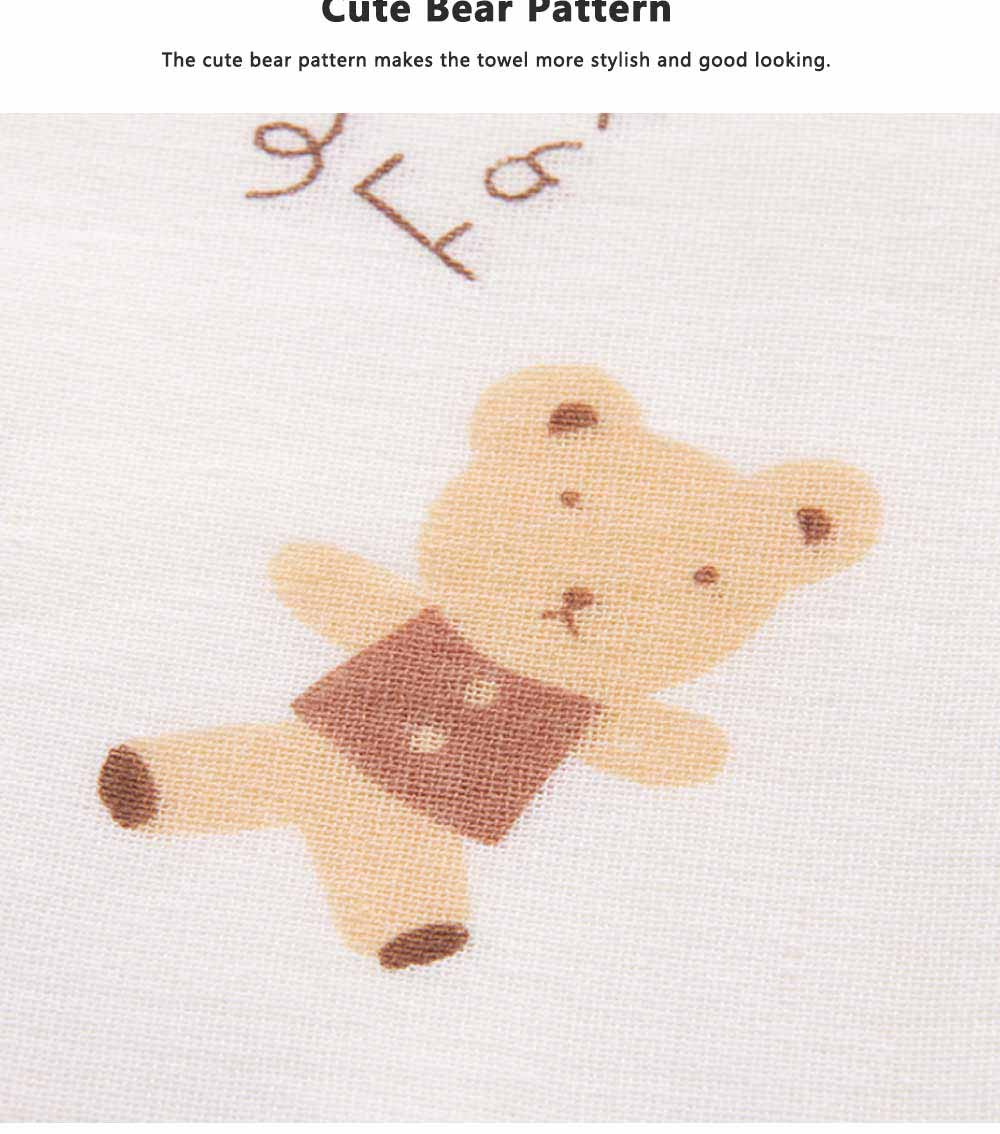 Cute Cartoon Bear Untwisted Yarn Face Cotton Towel, High-quality Smooth Double Layer Cloth for Children 3