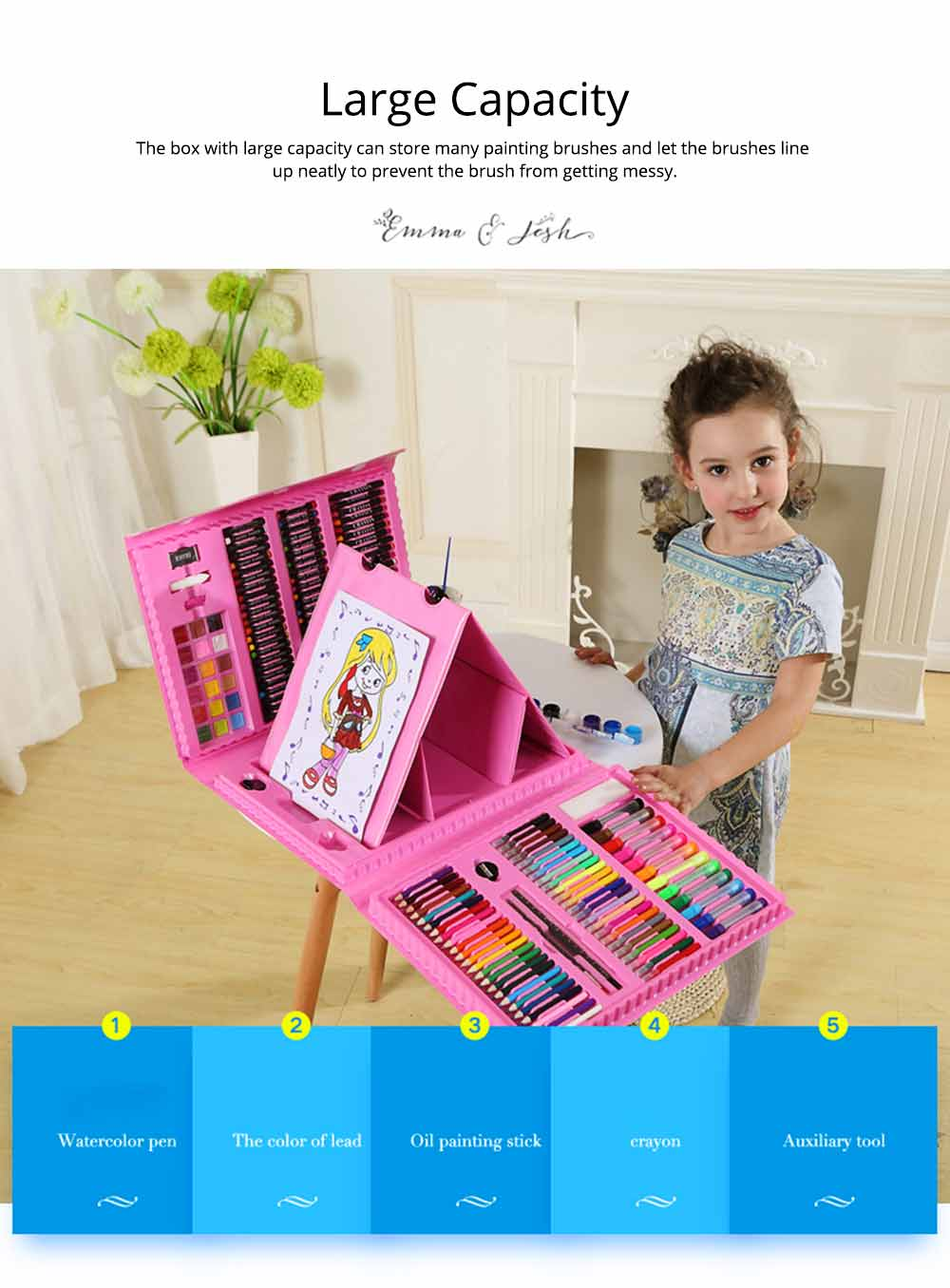 Children Multiple Watercolor Painting Pen Paintbrush Suit with Drawing Board, Portable Complete Colorful Painting Tools for Kids 8