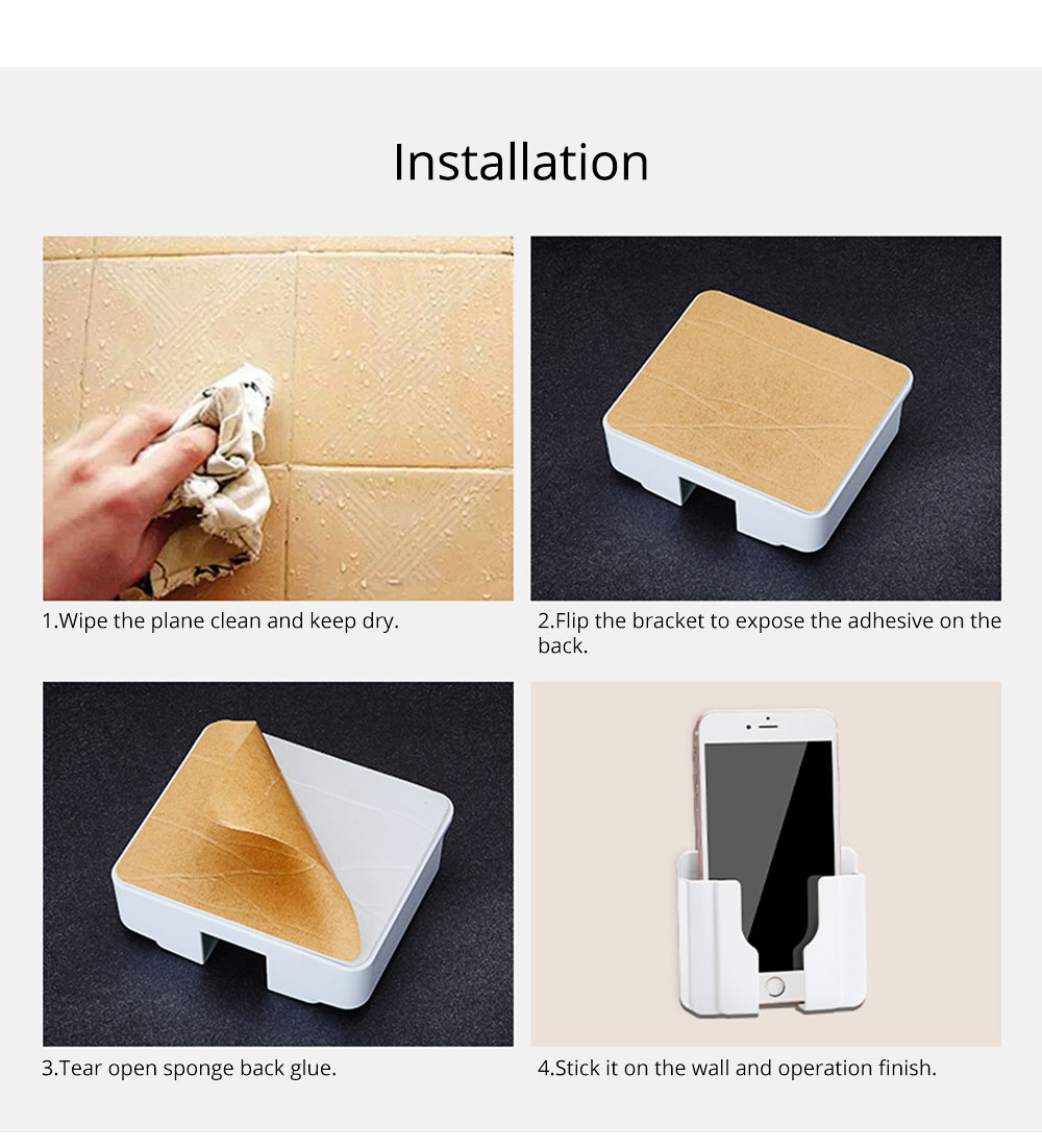 Wall-mounted Universal Smart Phone Free Stiletto Holder, Minimalist Solid ABS Mobile Phone Supporter 7