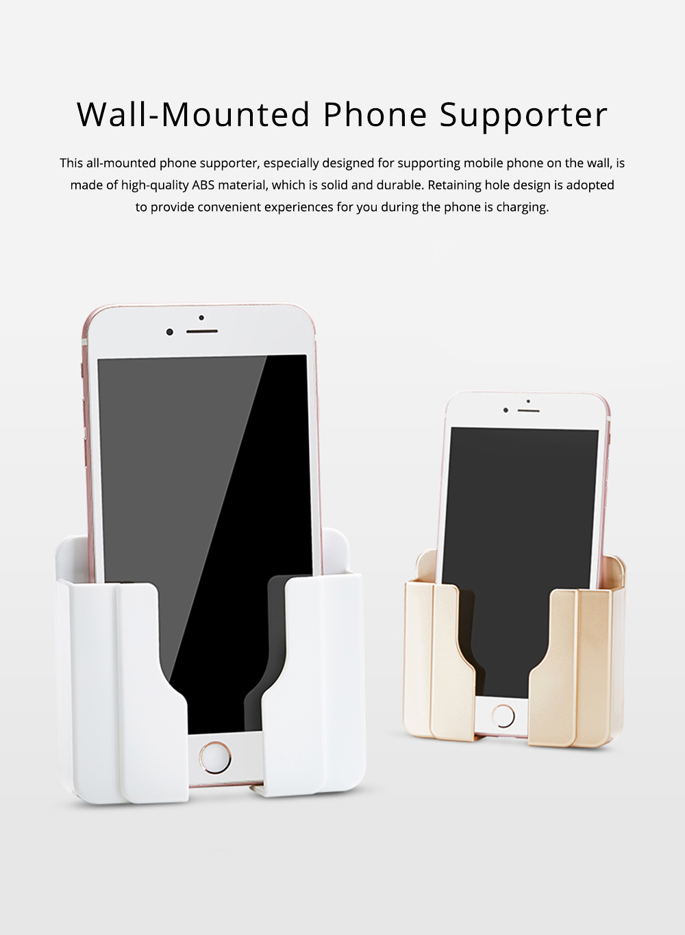 Wall-mounted Universal Smart Phone Free Stiletto Holder, Minimalist Solid ABS Mobile Phone Supporter 0