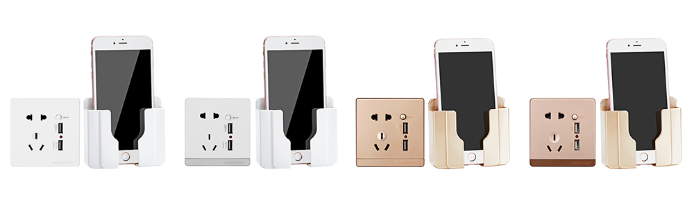 Wall-mounted Universal Smart Phone Free Stiletto Holder, Minimalist Solid ABS Mobile Phone Supporter 9