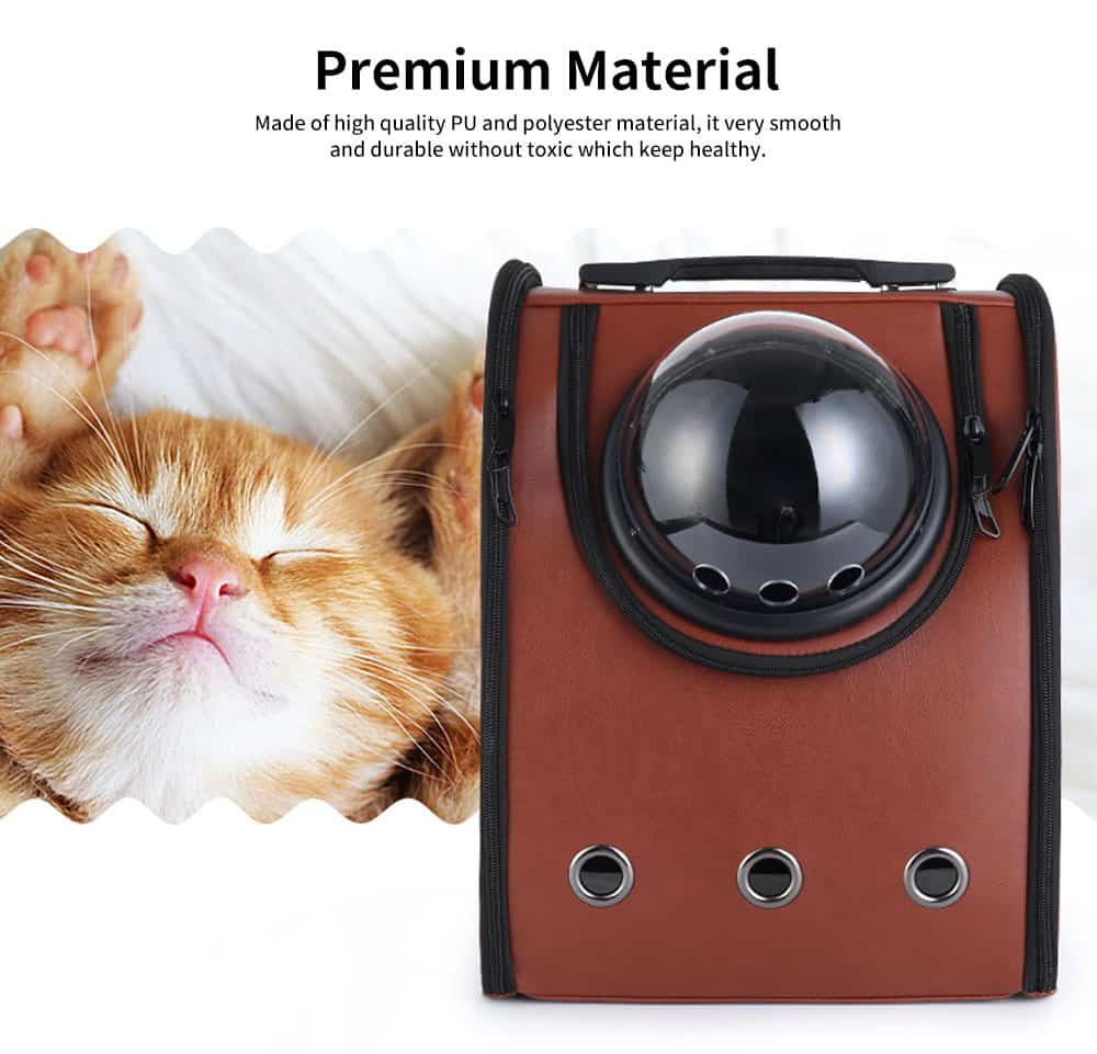 PU Portable Space Pet Backpack with U-shaped Back with Three-dimensional Ventilation Design for Cat Dog Puppy 1