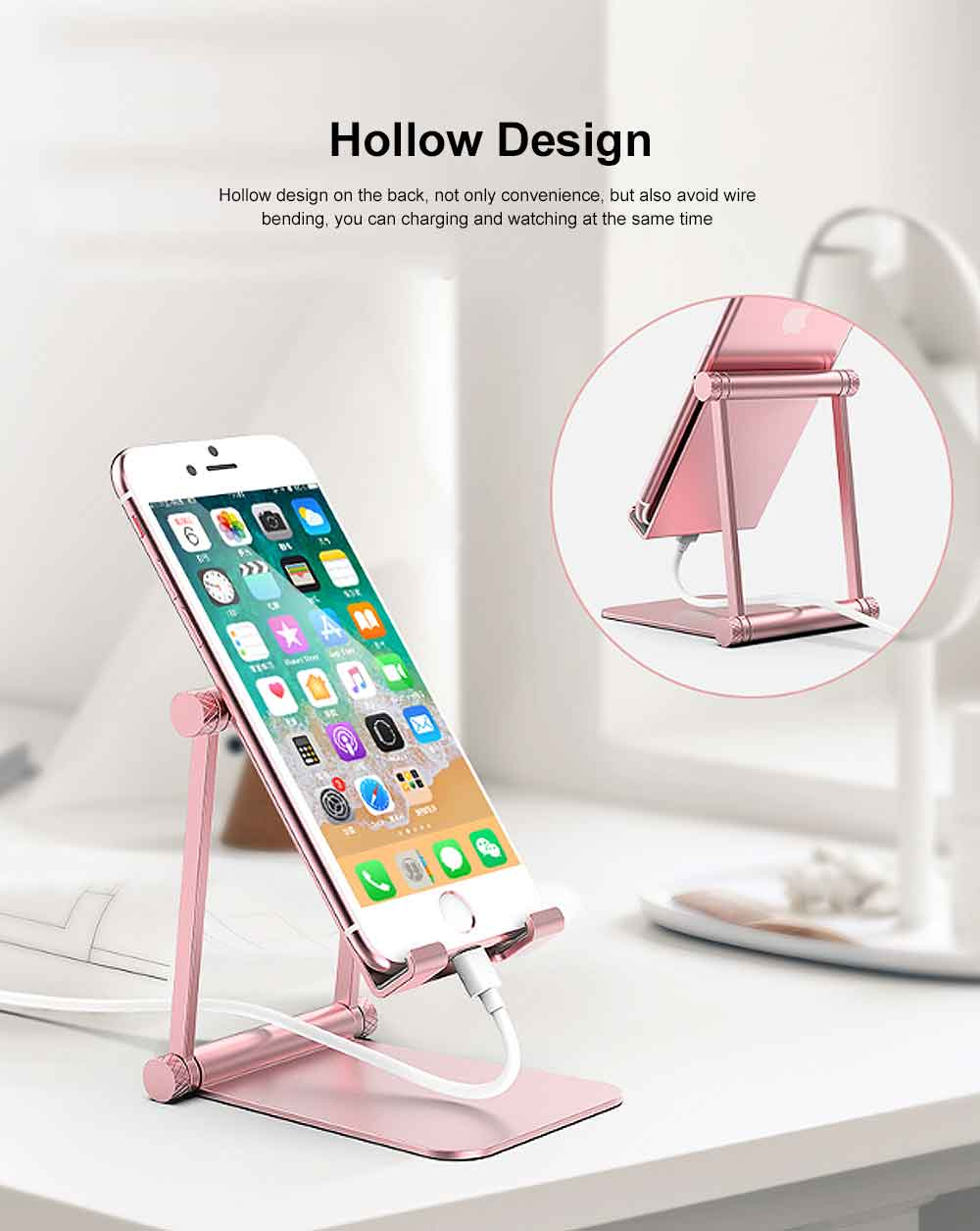 Aluminum Alloy Metal Flexable Tablet Phone Stand Holder, Desktop Foldable Adjustable Kickstand for Universal 6