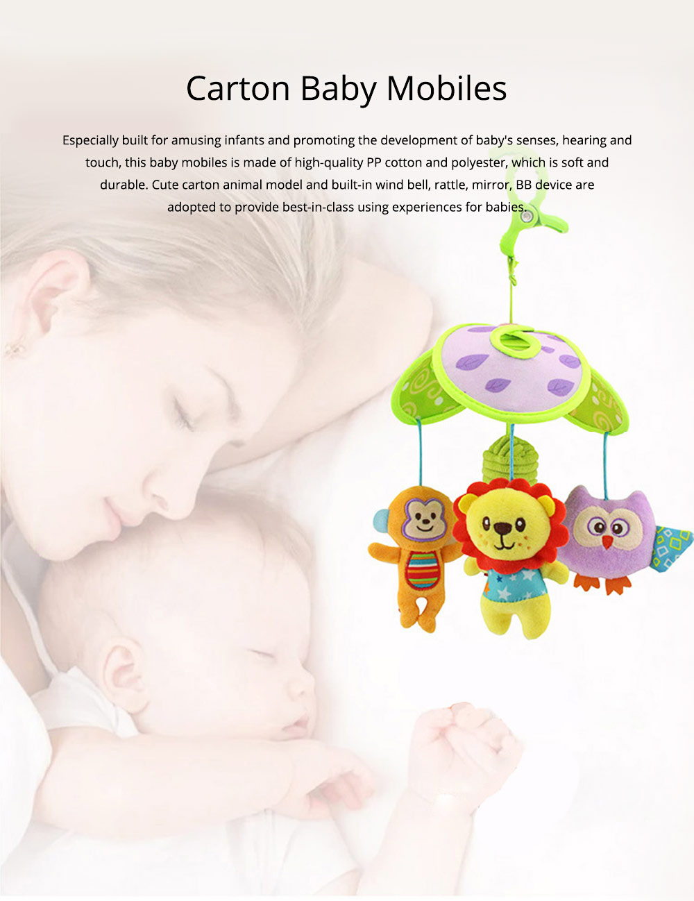 Cute Carton Forest Ocean Animal Series Baby Mobiles, Pacification Toy Wind Bell with Three Leaves Rotation Design for Infants 0