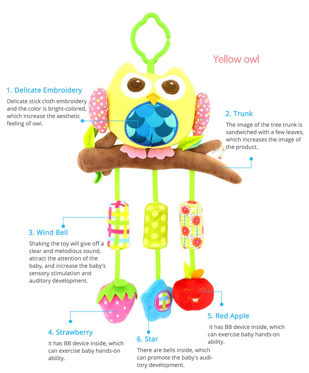 Cute Cartoon Animal Plush Baby Mobile, Delicate Fancy Pacification Early Education Stroller Hanging Toy for Infants Babies 2