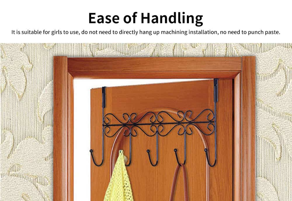 Iron Door Hook with Non-trace Iron Beads & Wide Range of Application, Hook Coat Rack with Twisted Hooks in Matte Black 2