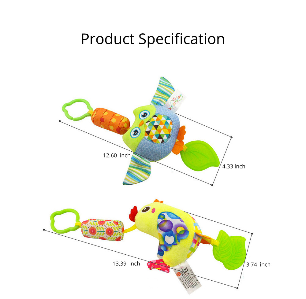 Cute Carton Baby Teether with Butterfly Chick Owl Bird Model, Soft Grinding Gum Campanula Series Pacification Toy 8