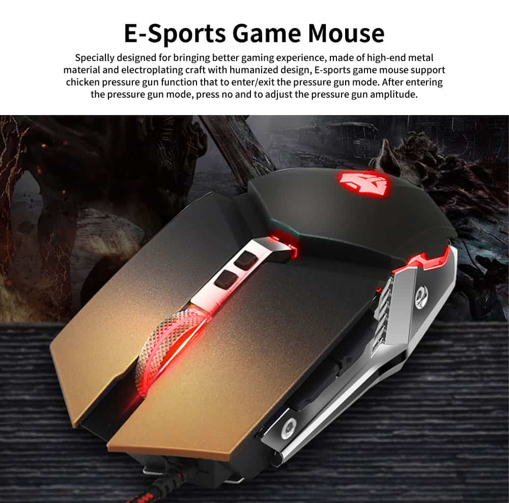 E-sports Game Mouse with Adjustable 4-gears & No Backseat Game Machine Programming Standard, Support to PUBG Machine 0
