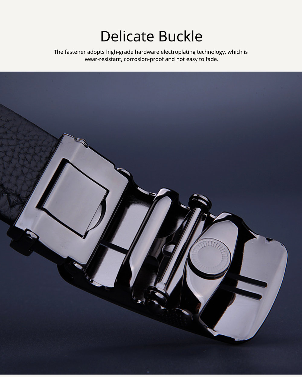 Men's Scratch Resistant Pure Leather Belt with Texture Alloy Buckle, Automatic Buckle Business Belt for Father's Day 1