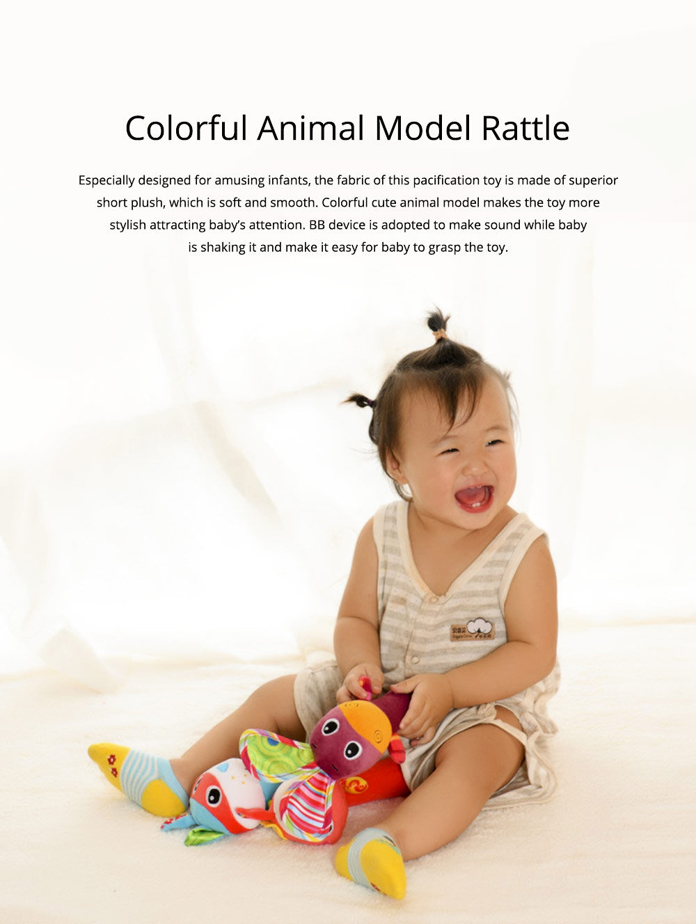 Colorful Cute Animal Model Rattle Pacification Toy for Infants, Ultrasoft Hand Grab Toy BB Stick Baby Early Education Toy 0