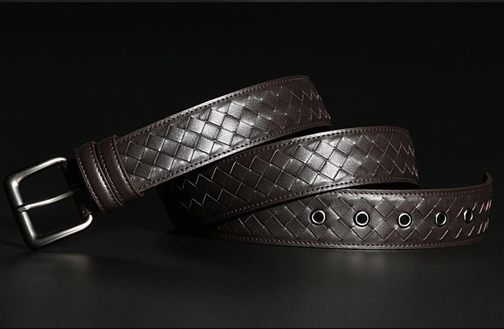 Father's Day Woven Men's Belt, First Layer Leather Belt with Texture Alloy Pin Buckle, Automatic Buckle Business Belt 4