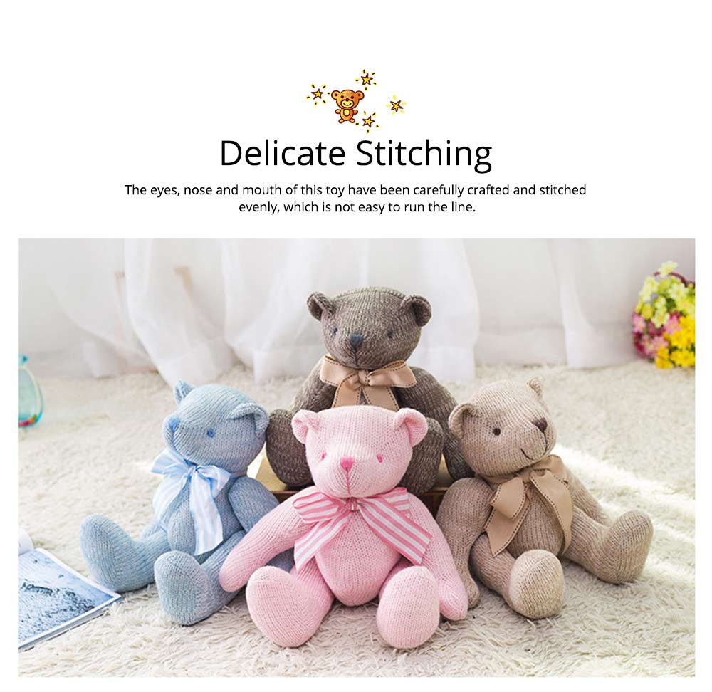 Cute Jointed Teddy Bear Doll with Bow Decoration, Animal Carton Fluffy Toy Birthday Present Gift for Children 3