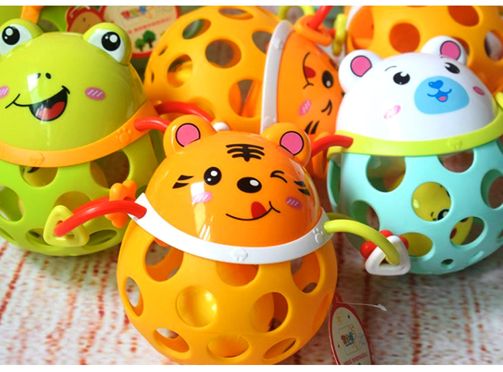Colorful Cute Animal Baby Rattle, Creative Plastic Hand Bell Teether for Children Infants 6