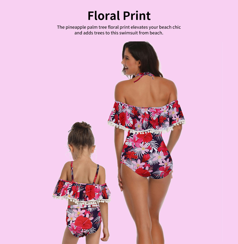 Parent-child High Waist Bikinis with Floral Prints, Lovely Split Bikini with Breast Wiping & Fold Design 4