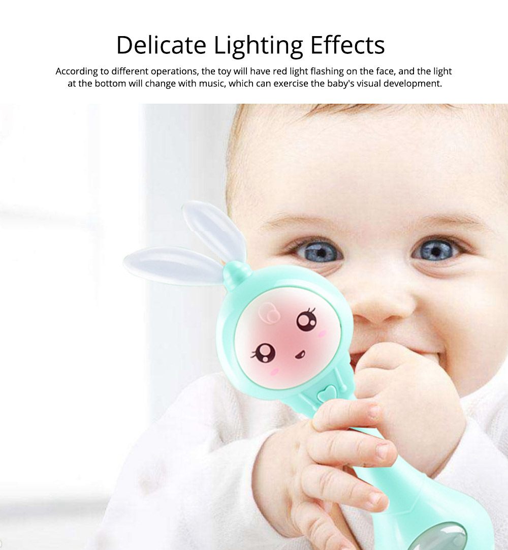 Cute Rabbit Model Babies Grinding Gum Teether Toy, Creative Music Colorful Light Molar Bite Toy for Infant Kids 5