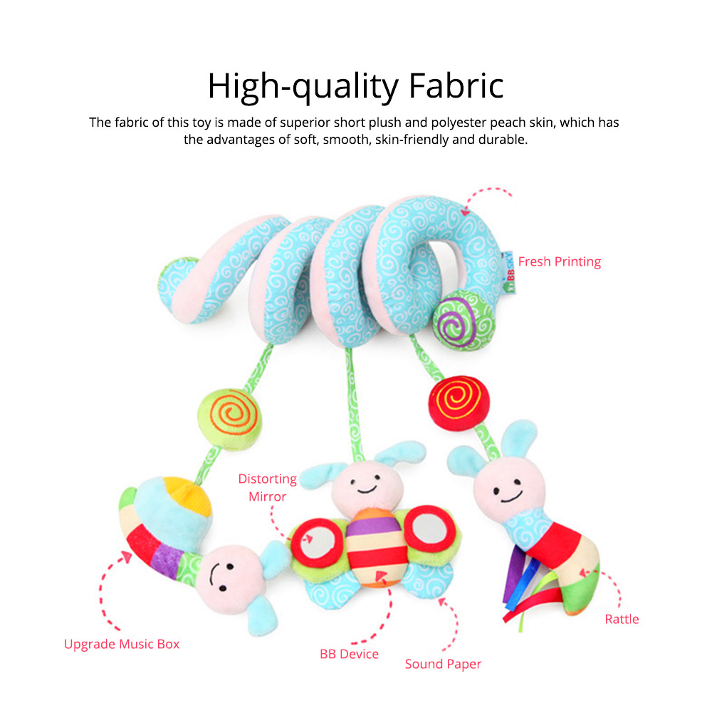 Baby Stroller Butterfly Hanging Plush Toys, Pram Bedside Winding Fluffy Pacification Toy Ornament 1