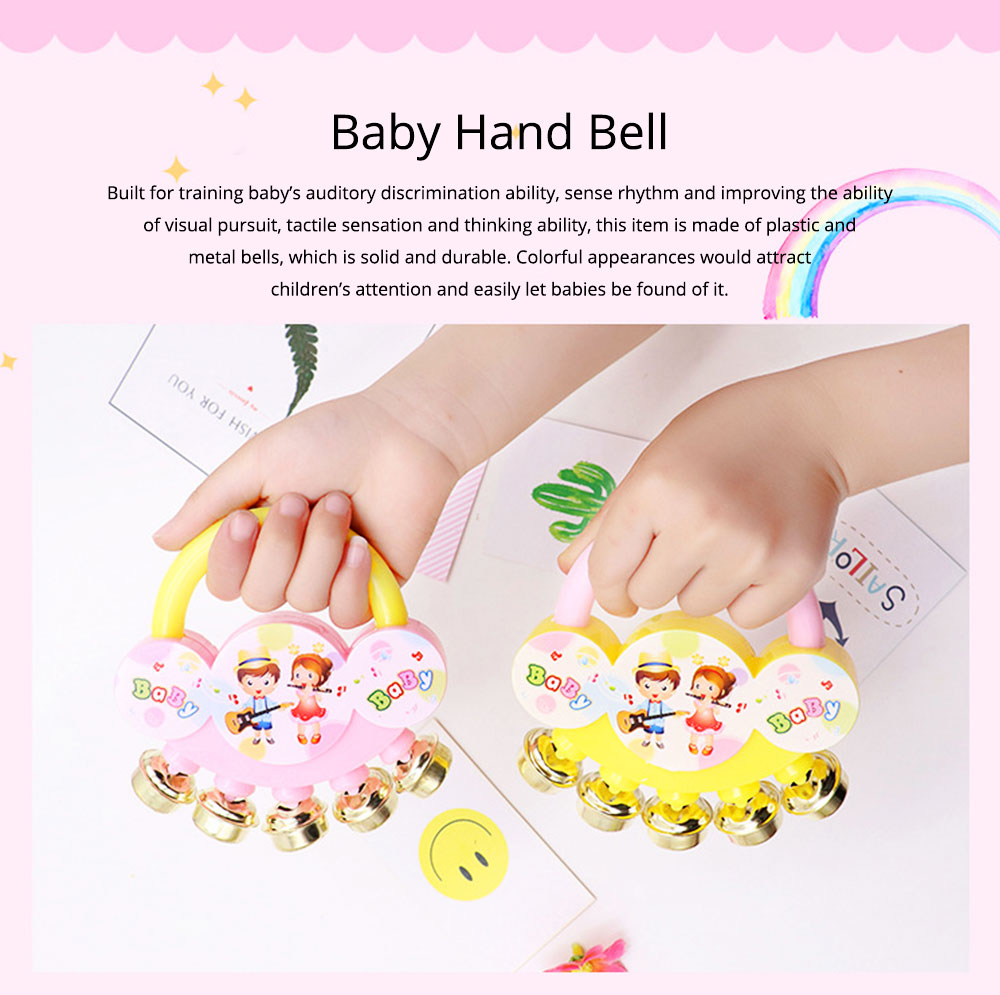 Delicate Carton Hand Bell for Babies Infants, Cute Fancy Rattle with Five Bells Children Early Education Toy 0