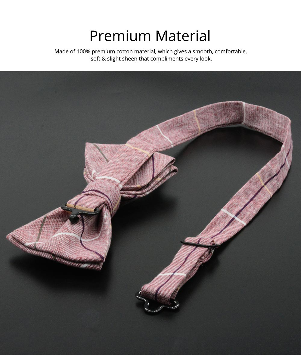 Men' Cotton Grid Self Tie Bow Ties, Unique Bow Ties with Various Styles for Groomsman Gets Married 2