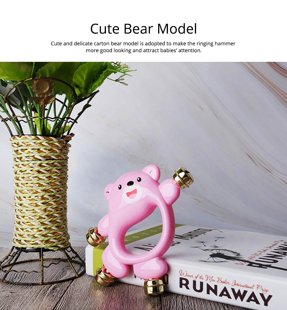 Creative Bear Hand Bell Toy for Infants, Cute 0-2 Years Old Babies Early Education Toy Solid ABS Rattle with Bells 4