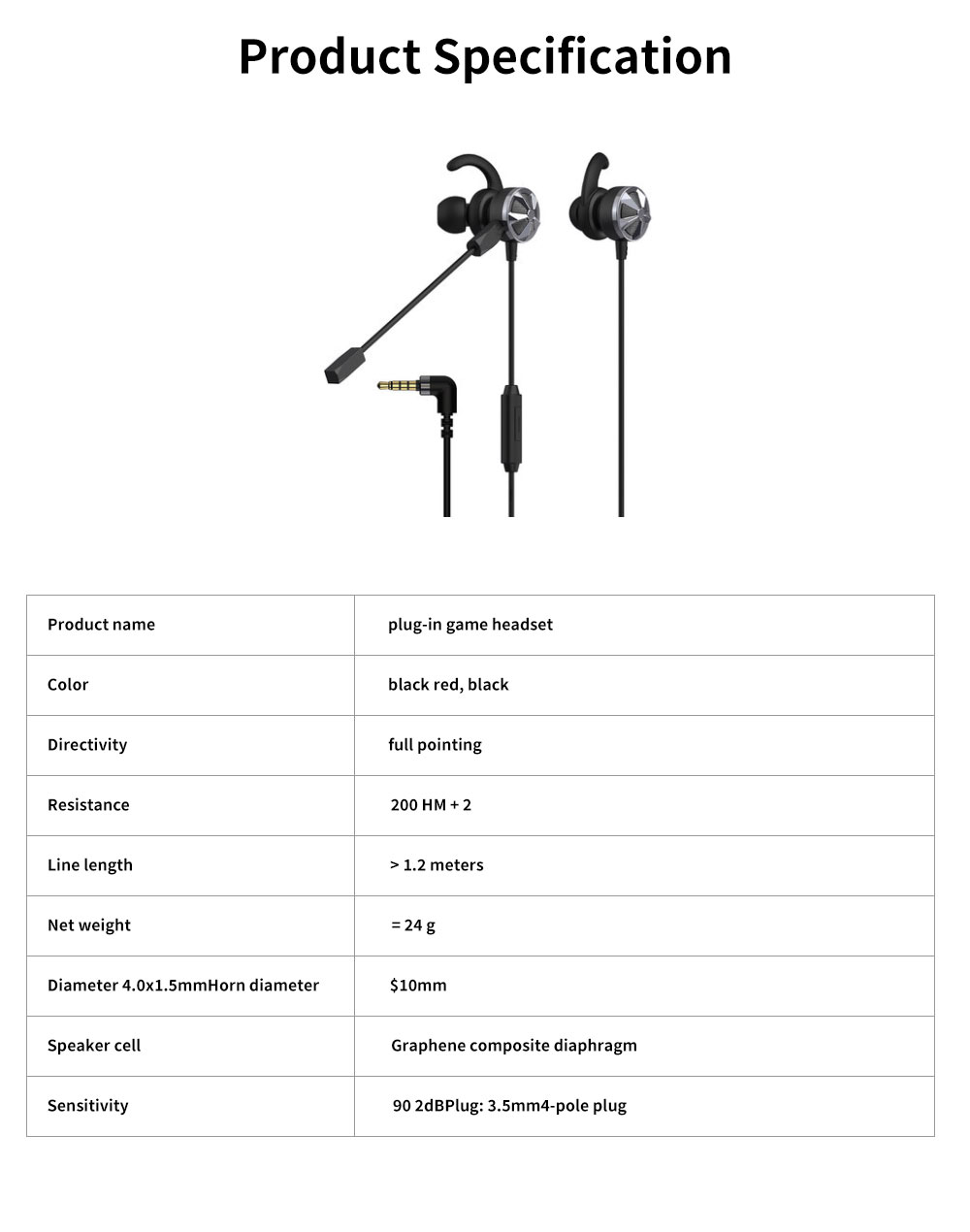 Gaming Mobile Phone Games Headphones with Graphene Diaphragm, Plugged Out Microphone & 7.1 Track, Professional E-sports Mobile Game headphones 6