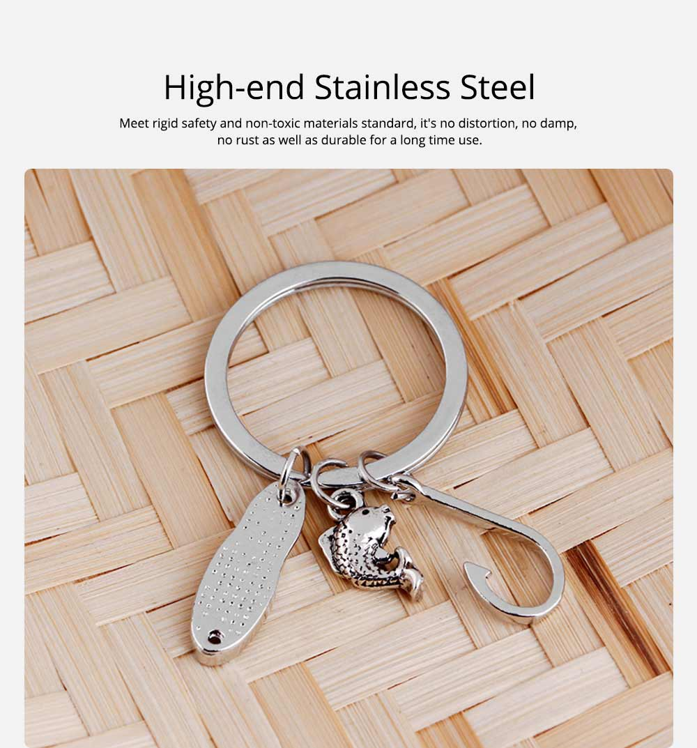 Key Chain of Fish Hook Design with Smear Lettering, Engraved Stainless Steel Key Ring Pendant for Father's Day Gift 1