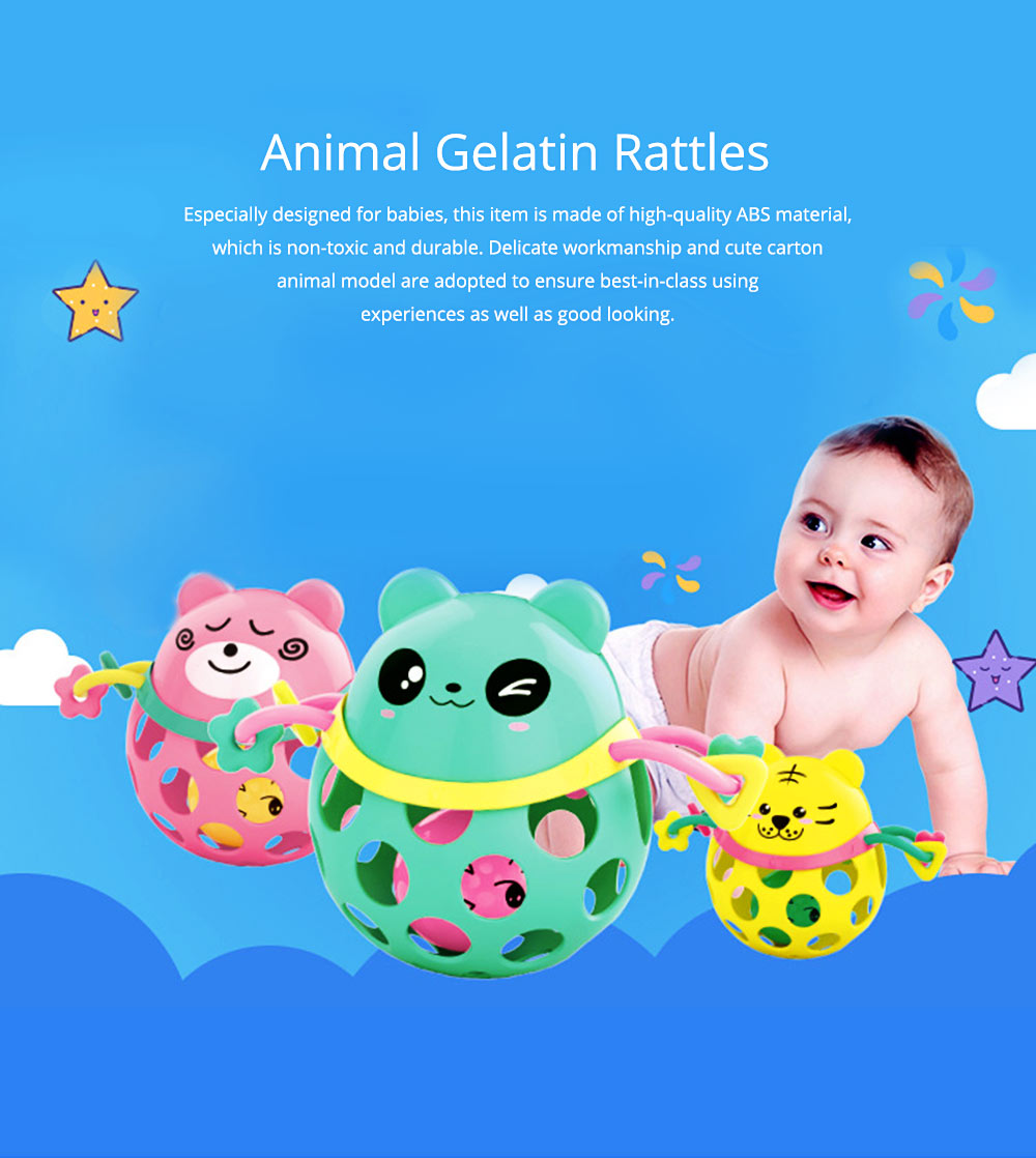 Silicone Rattles Grip Ball Teether with Cute Carton Animal Model, Delicate Funny Ultrasoft Silica Gel Puzzle Toy for Babies Children 0