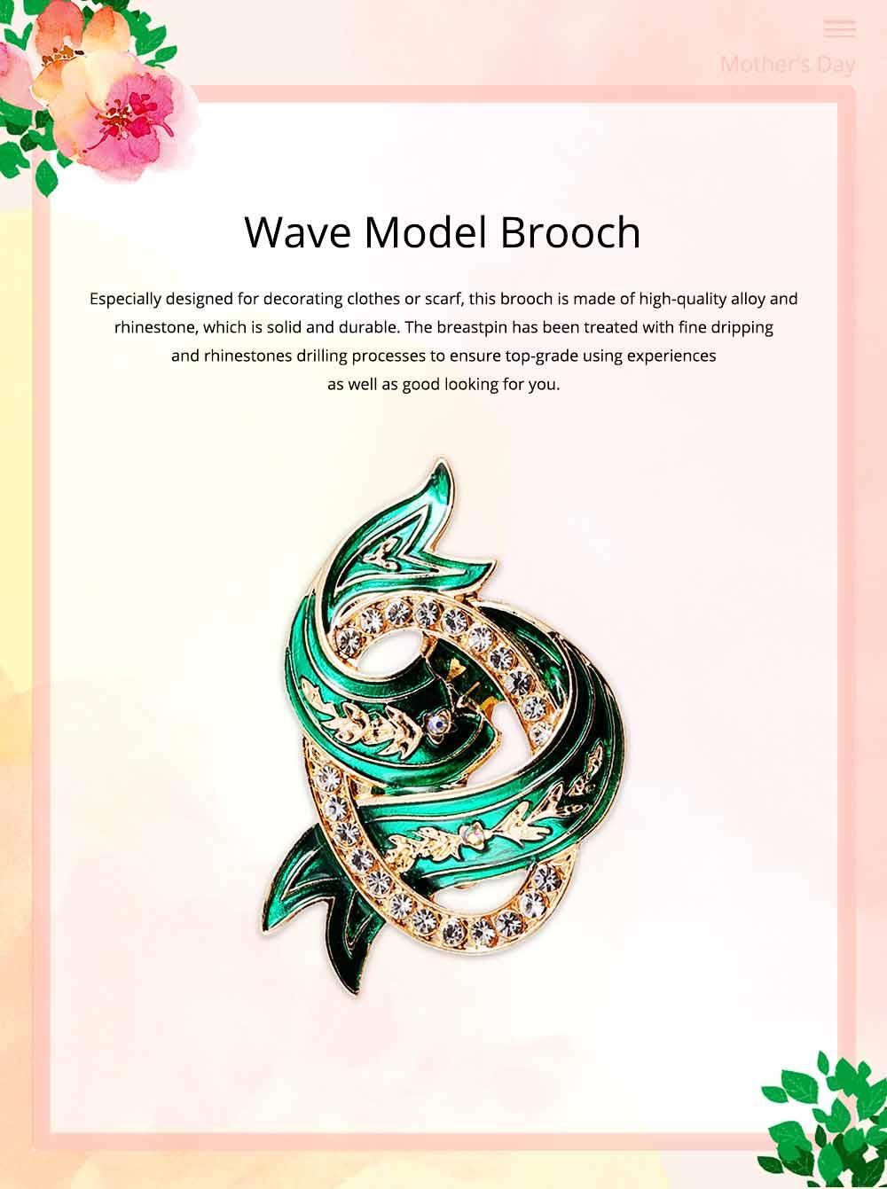 Elegant Green Wave Model Rhinestone Embellishment Alloy Brooch for Women, Scarf Clothes Ornament Accessories Breastpin Women Jewelry 0