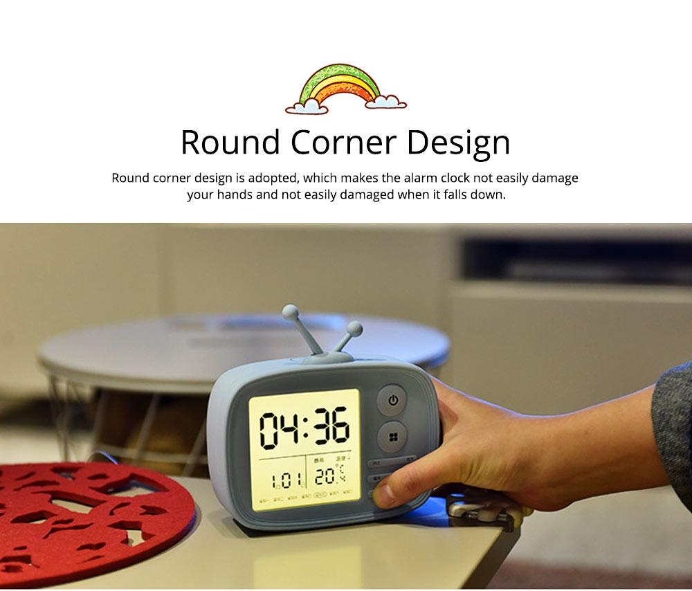 Creative Television Model Intelligent Digital Alarm Clock Watch, Stylish Funny Clock with Sound Reminder Two Light 9