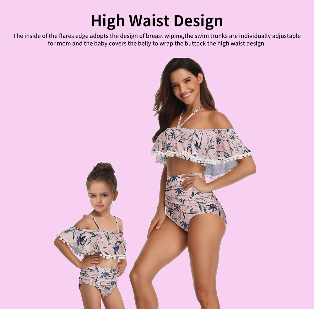 Parent-child High Waist Bikinis with Floral Prints, Lovely Split Bikini with Breast Wiping & Fold Design 2